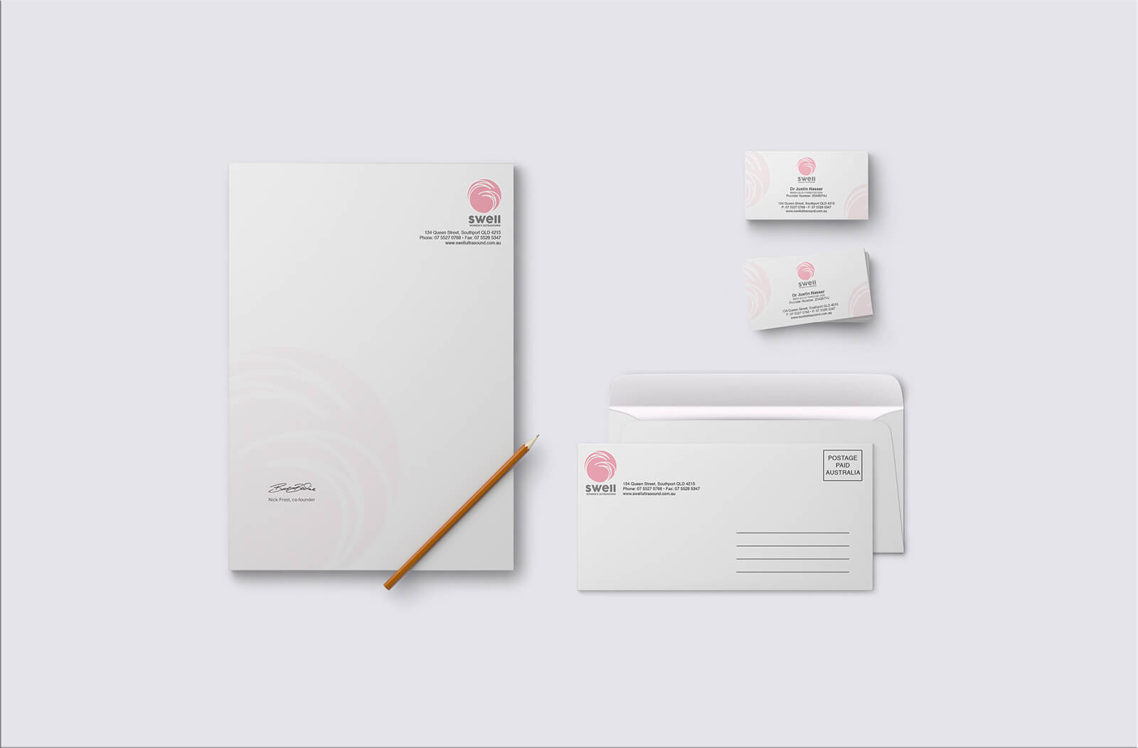business cards, stationery graphic design service for clinic by freelance designer metrodesign bexley kogarah sydney